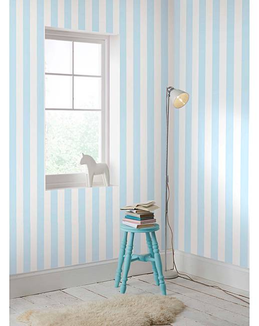 Pastel Blue Stripe Wallpaper