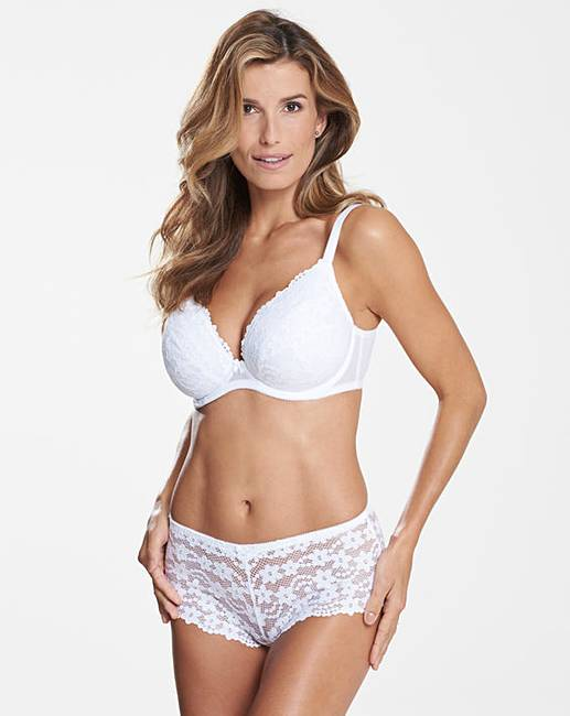 f1a560411b138 Daisy Lace White Plunge Wired Bra