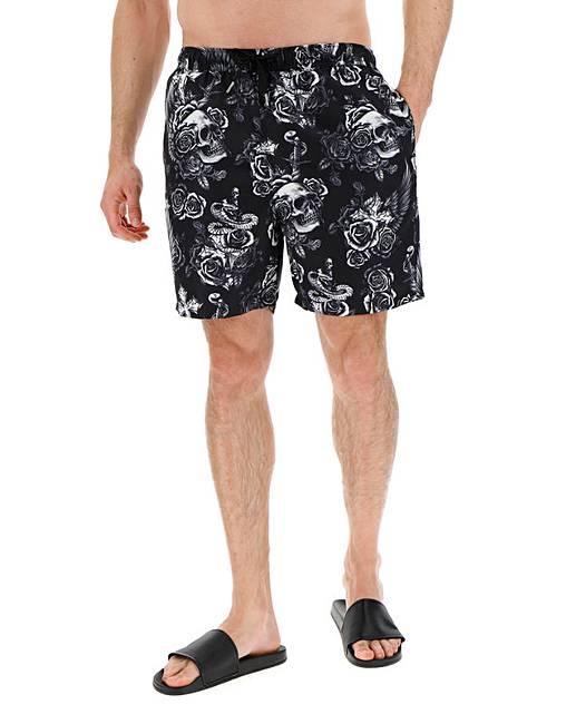 42113e1bea2e1 Skull Print Swim Shorts | Jacamo