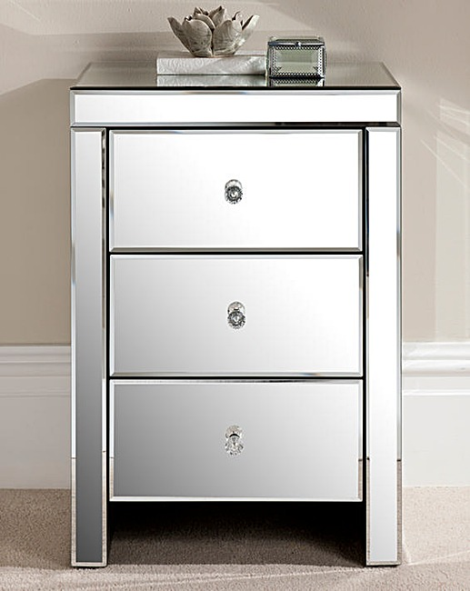 Florence Mirrored 3 Drawer Bedside Table J D Williams