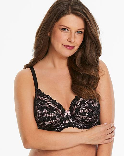 6a5a3b09e2 Daisy Lace Black Pink Full Cup Wired Bra