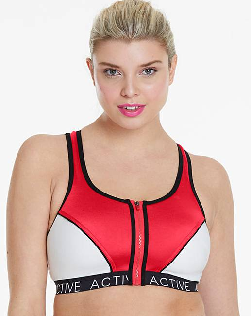 20fbe80fca23c Pretty Secrets High Impact Red White Zip Front Sports Bra