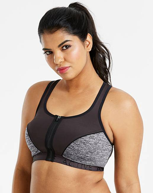 8edeb2d0b671 High Impact Black Zip Front Sports Bra | Simply Be