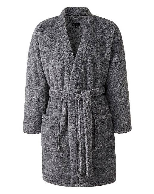 Capsule Charcoal Fleece Dressing Gown   Oxendales