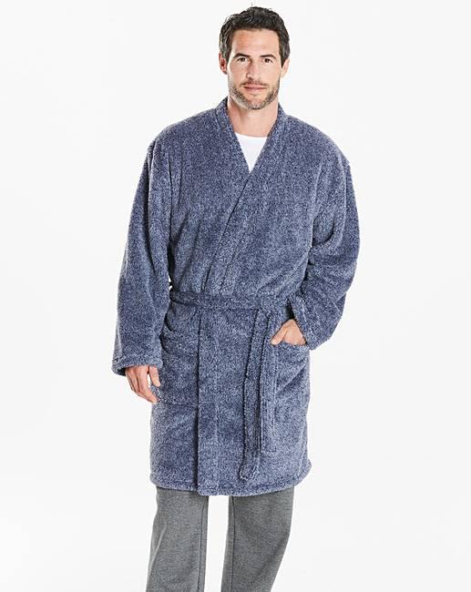 Capsule Blue Fleece Dressing Gown   Premier Man