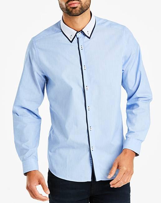 Jacamo Blue Marl Double Collar Shirt