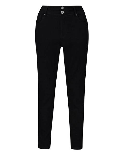 Black Shape And Sculpt High Waist Skinny Jeans Long Length by Fashion World