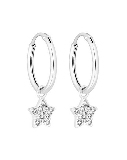 e41d9bd60 Simply Silver Star Charmed Hoop Earrings | Ambrose Wilson