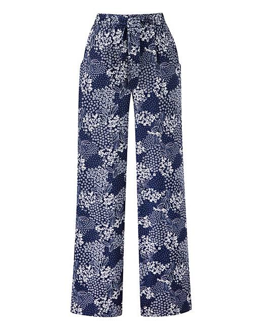 New Petite Floral Print Wide Leg Tie Waist Trousers supplier