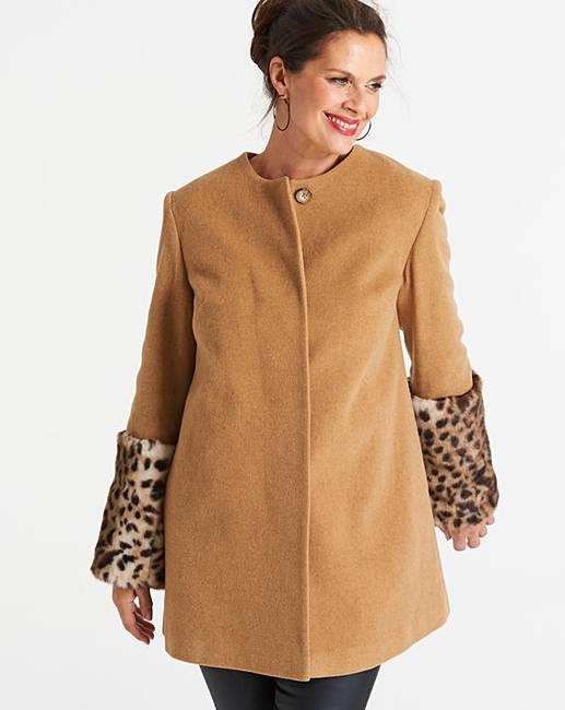 8c586fabeb4f Helene Berman Faux Fur Cuff Coat | J D Williams