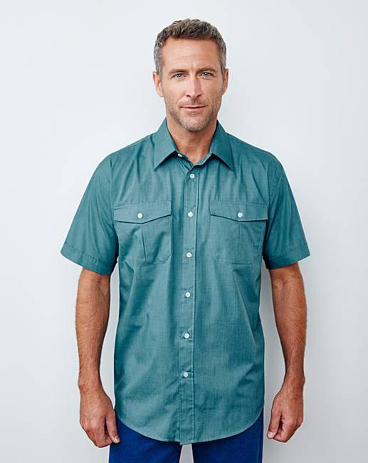 Premier Man Teal Short Sleeve Pilot Shirt Regular free shipping