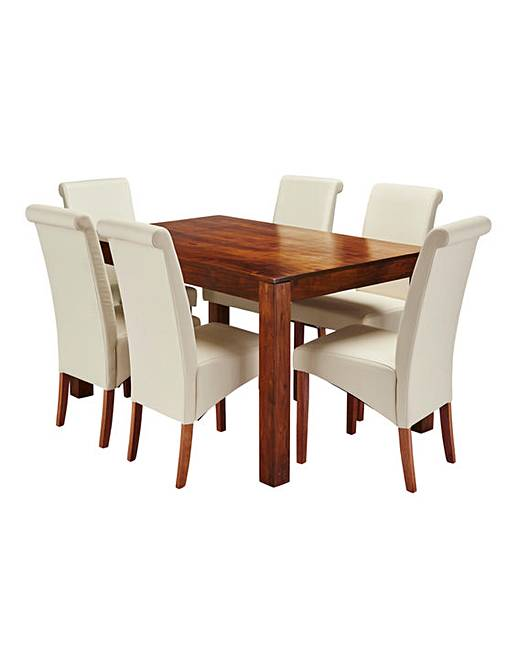Java Acacia Dining Table With 6 Siena Faux Leather Chairs