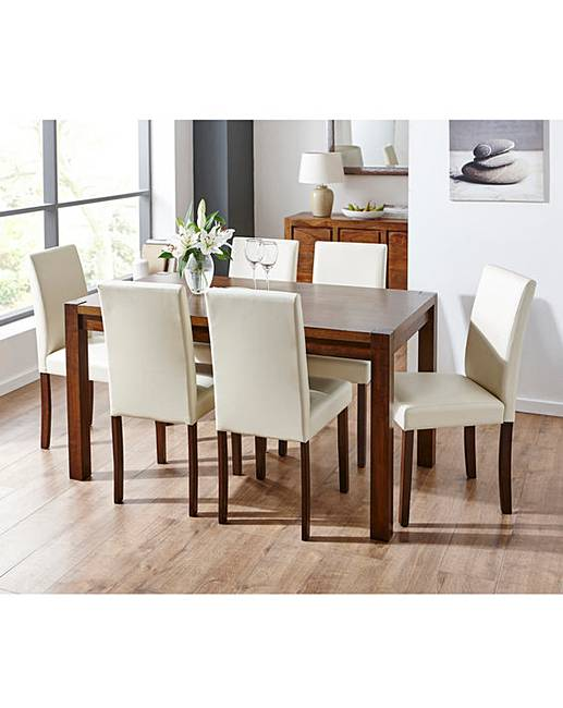 Oakham Oak Square Dining Table And 6 Mia Faux Leather Chairs