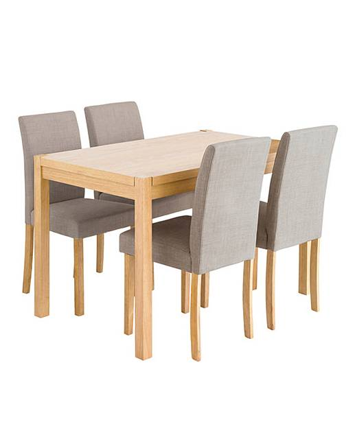 Oakham Oak Veneer Rectangular Dining Table And 4 Mia Fabric Chairs