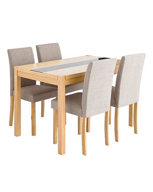 Oakham Glass Panel Dining Table Chairs J D Williams - Rectangle table with 4 chairs
