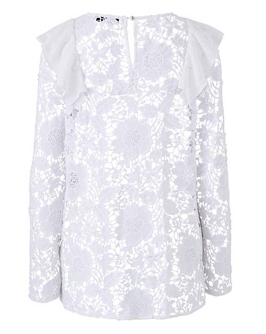 5a66982553956 White Ruffle Front Lace Blouse