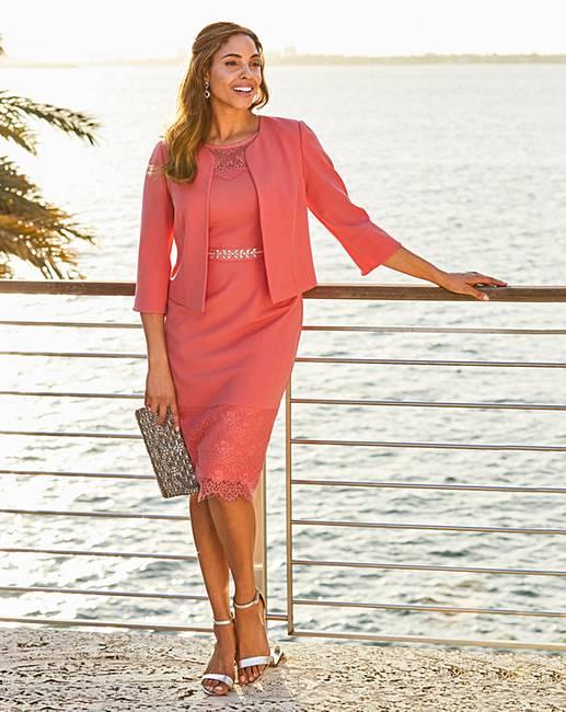 e6609d5418 Joanna Hope Lace Trim Dress and Jacket | J D Williams
