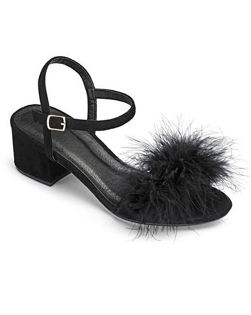 2b0e01454a Truffle Fluffy Block Heel E Fit | Simply Be
