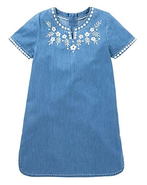 97b0781c4d4b KD Girls Denim Embroidered Dress