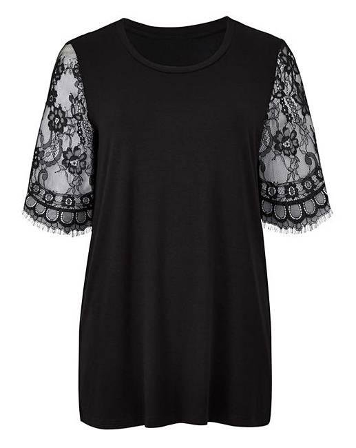 91bac06bf5f Black Lace Sleeve T-shirt | Simply Be