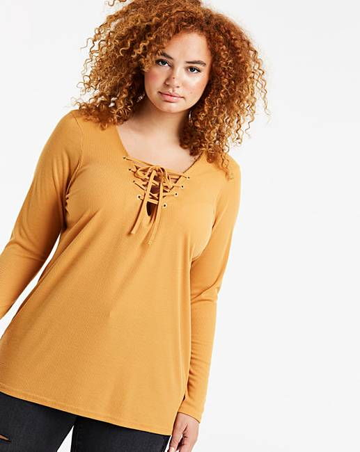 a5d741b330 Ochre Lace Up Long Sleeve Eyelet Top