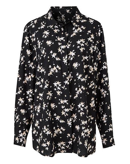 3f8fe3b05c21f8 Black Star Print Printed Viscose Shirt | J D Williams