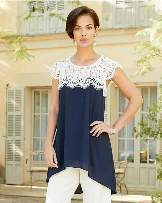 bcc4cbdfe6 Joanna Hope Navy/Ivory Lace Trim Tunic | Marisota