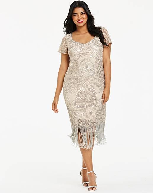 03c270e08b5b Joanna Hope Beaded Fringe Lace Dress