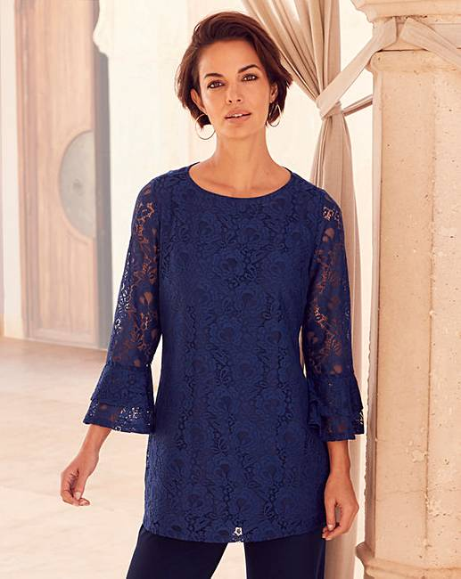 371b9e969b5 Joanna Hope Navy Lace Tunic | J D Williams