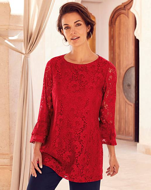 801d35a302c Joanna Hope Red Lace Tunic | Oxendales