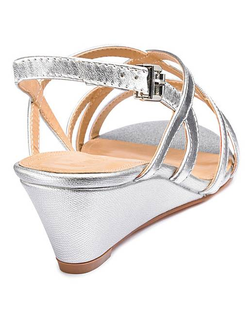 2de0fd17c8c Strappy Low Wedge Sandals Wide E Fit