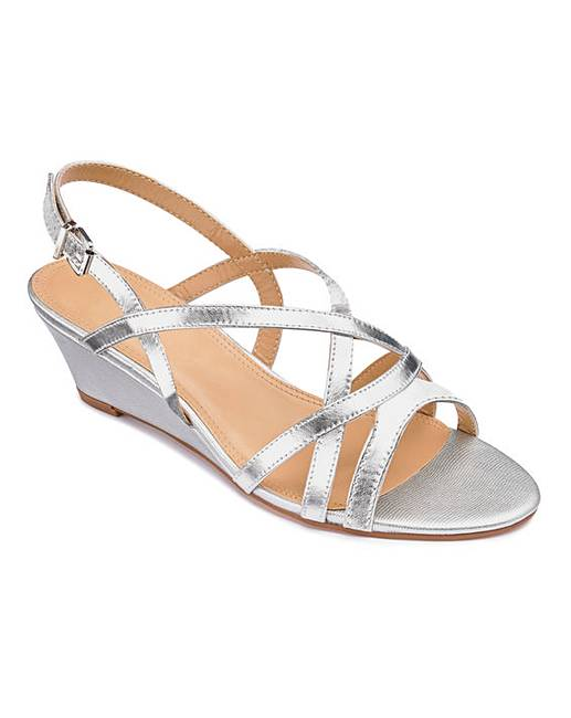 993f8e87479 Strappy Low Wedge Sandals Wide E Fit. Rollover image to magnify