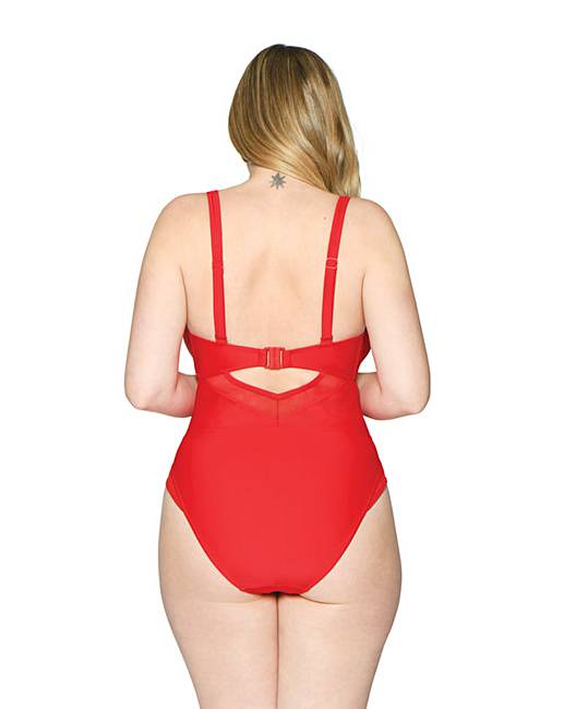 9448d82041fe2 Curvy Kate Sheer Class Plunge Swimsuit | Simply Be