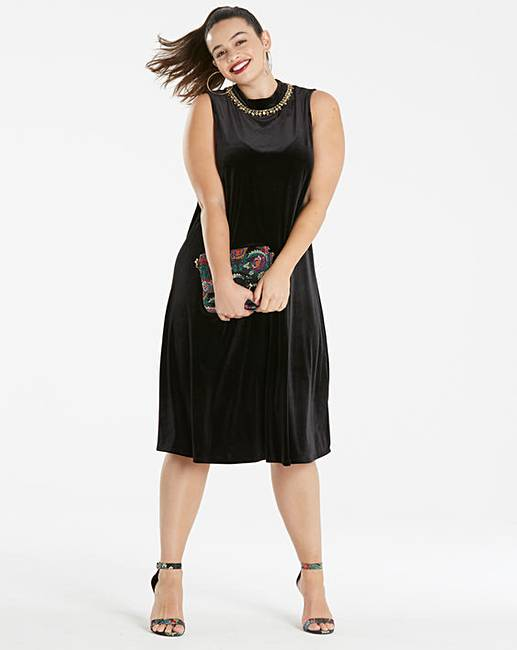 1ff37d4cdd87e Joanna Hope Jewel Trim Velour Swing Dress