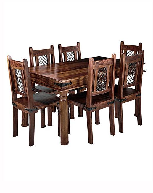 Jaipur Sheesham Dining Table 6 Chairs
