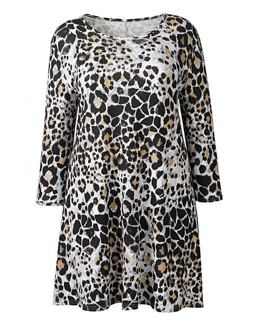 015d0767cb3 AX Paris Grey Leopard Print Swing Dress