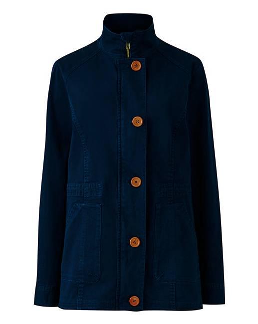 Navy Stretch Cotton Utility Jacket Marisota