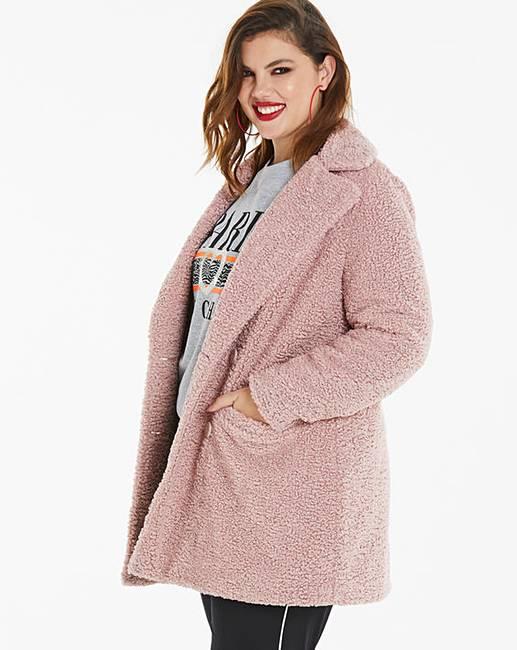 5fa5726eb9 Dusty Pink Teddy Faux Fur Coat | Simply Be