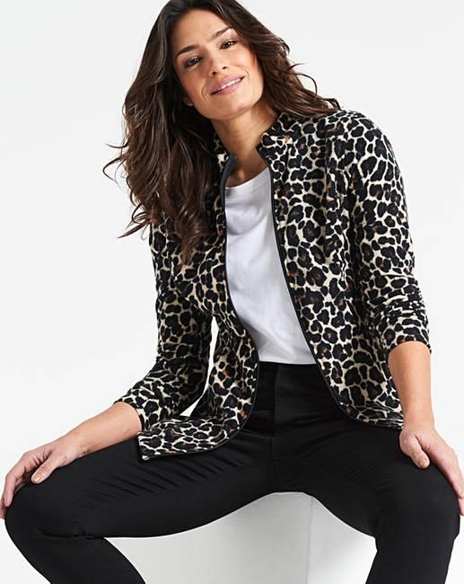 987c42f18cd8 Leopard Print Contrast Zip Fleece Jacket   Oxendales