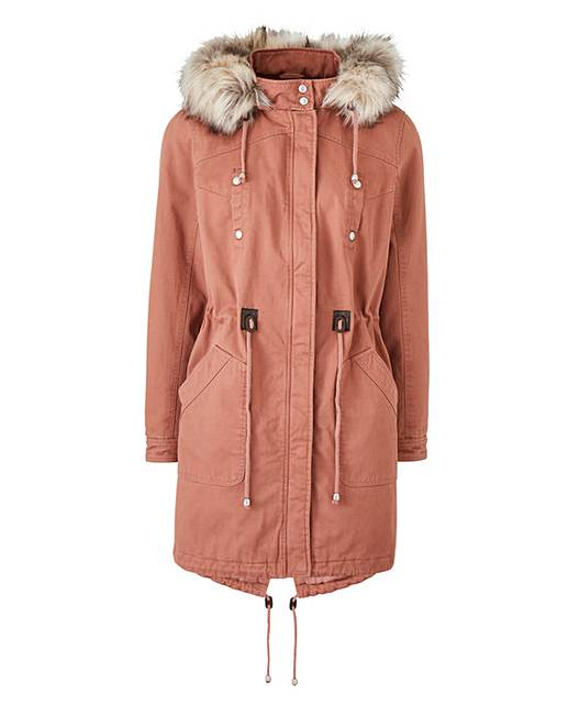 Petite Lightweight Cotton Parka With Faux Fur Trim by Simply Be