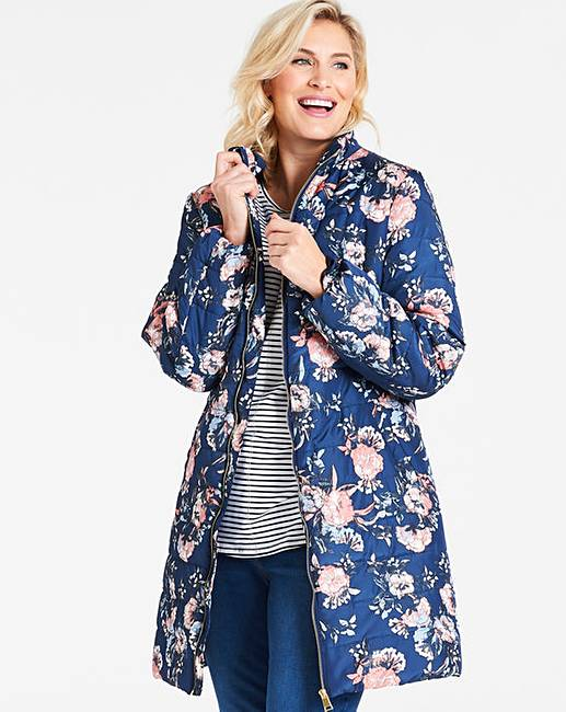 bbbbfcabb2e3f Navy Floral 3/4 Padded Jacket | J D Williams