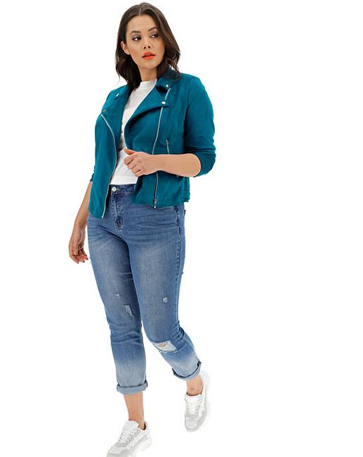 e0b86c02320 Turquoise Suedette Biker Jacket | Simply Be