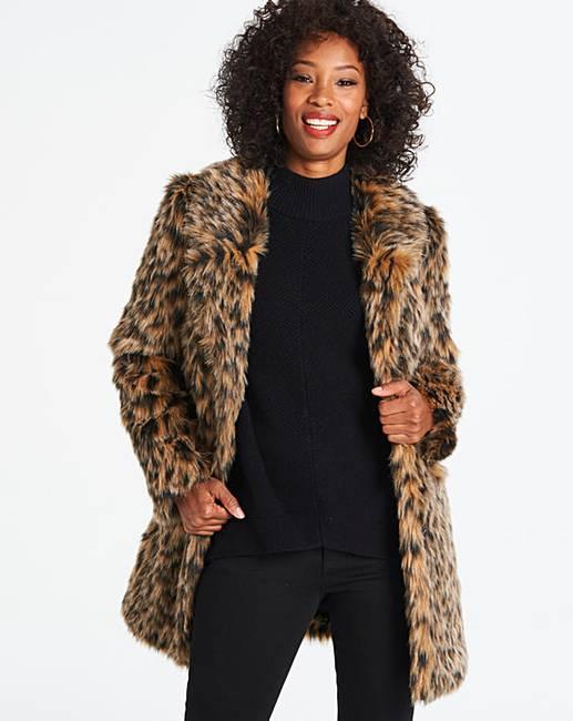 391dd032e13f Leopard Print Faux Fur Coat | J D Williams
