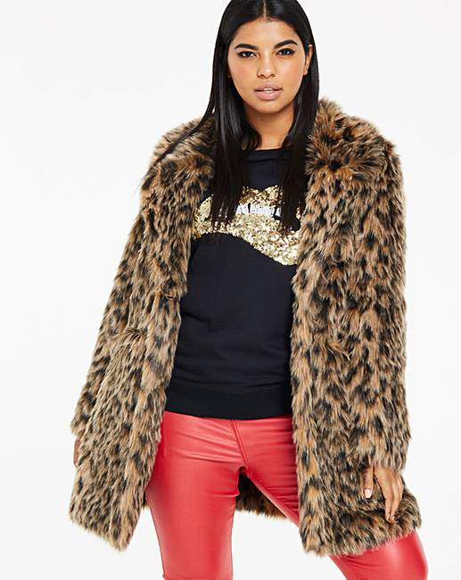 eac0e4eee344 Leopard Print Faux Fur Coat | Simply Be