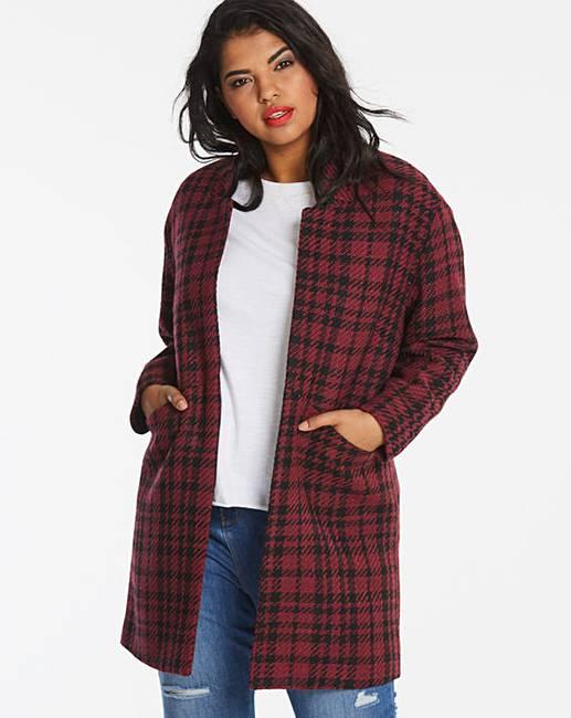 4ce3ecdbe0c0 Red/Black Wool Look Blazer Coat | Simply Be