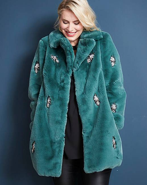 6dd6ba595 Green Jewel Trim Faux Fur Coat | J D Williams