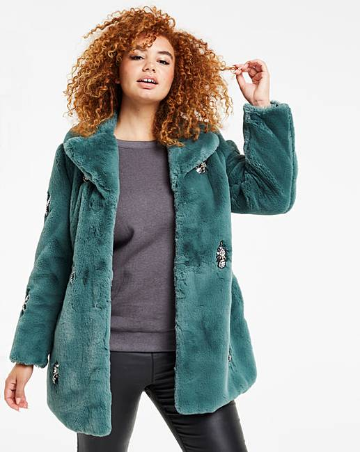 8d6cd96b3 Green Jewel Trim Faux Fur Coat | Simply Be