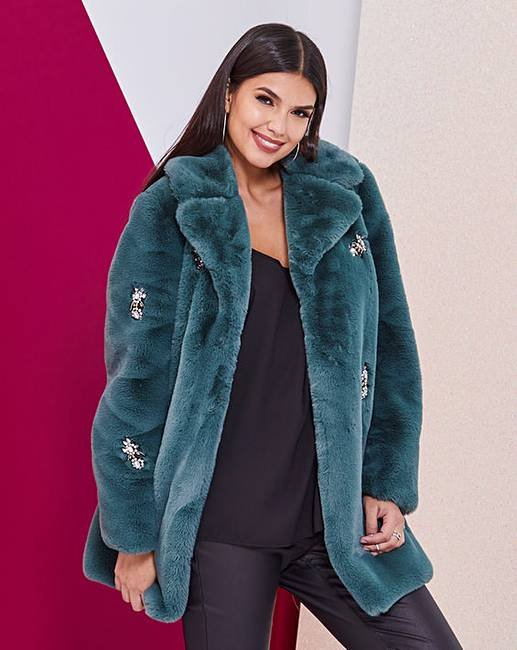 8f041e2e8 Green Jewel Trim Faux Fur Coat | Fashion World