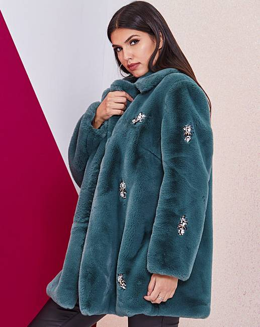 cb229d29a Green Jewel Trim Faux Fur Coat. Rollover image to magnify