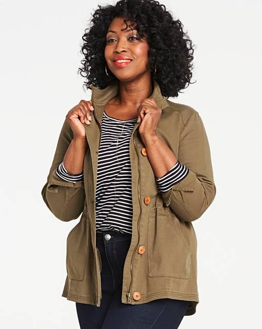 Khaki Stretch Cotton Utility Jacket With Adjustable Waist by Fashion World